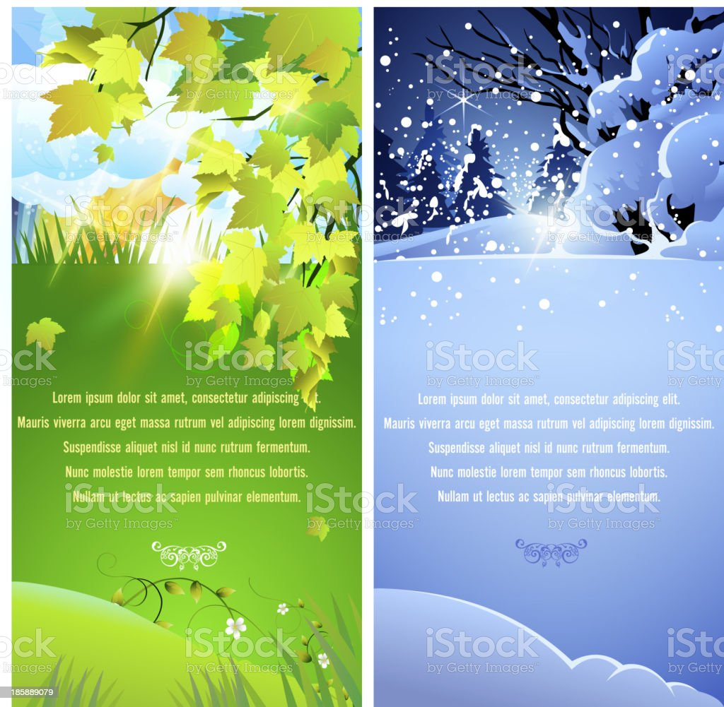 Spring and Winter Banners royalty-free stock vector art