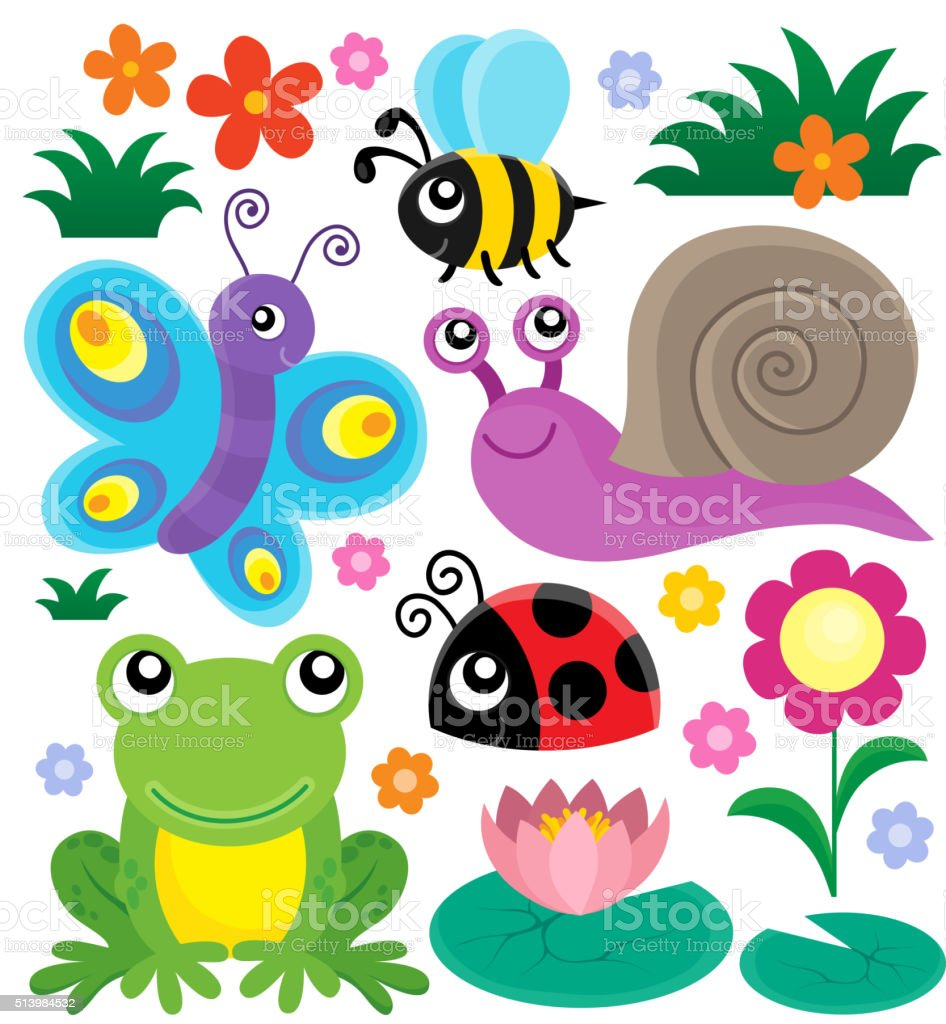 spring animals and insect theme set 1 stock vector art 513984532