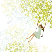 Spring background with little girl swinging. Copy space at the left side.