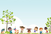 Vector Spring background and kids