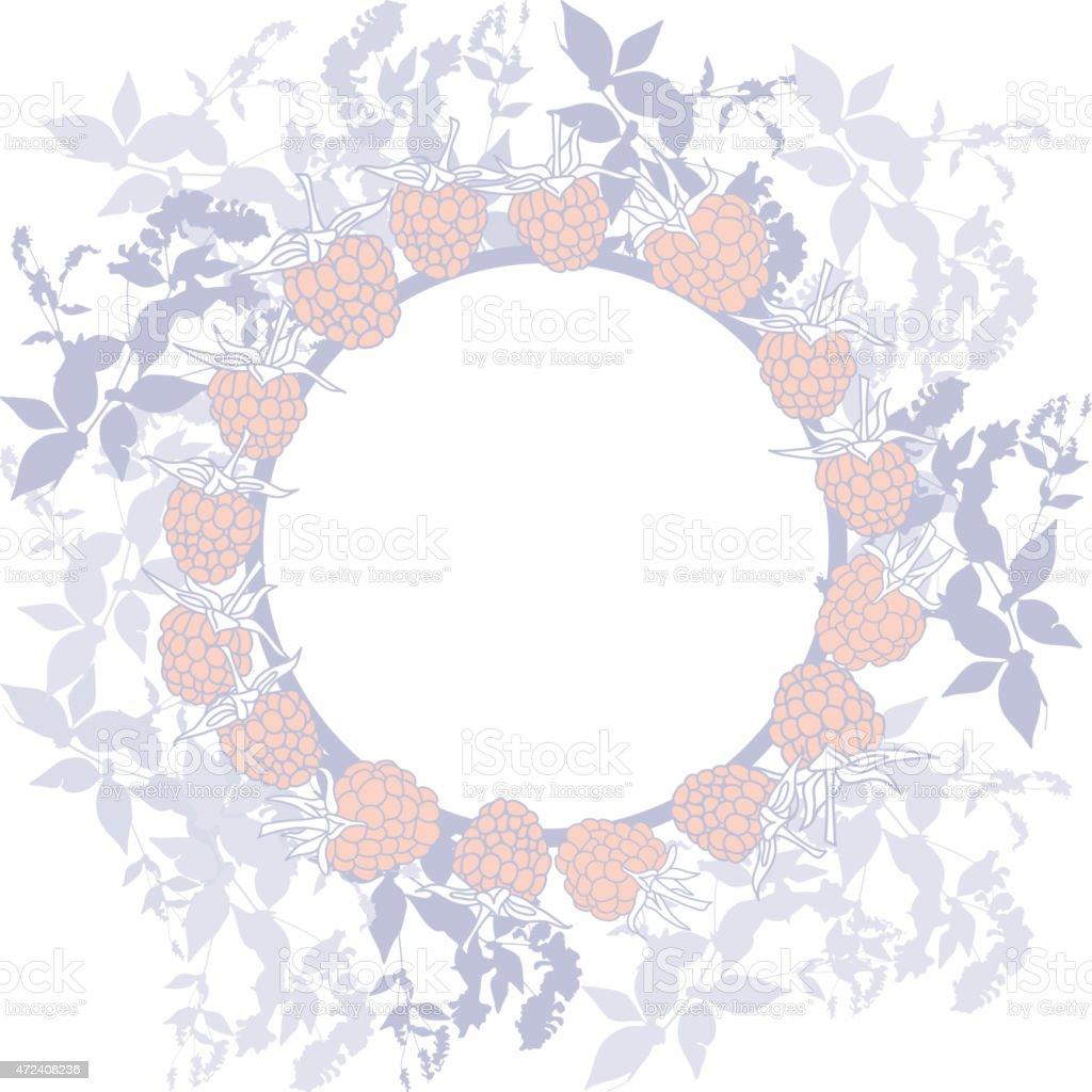 Spring background, banner for text. ripe raspberry on white background. vector art illustration