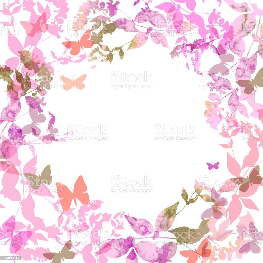 Sfondo Di Primavera Con Farfalle Colorate E Ghirlanda Rosa