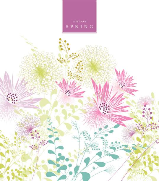 spring background floral pattern banner text vector art illustration
