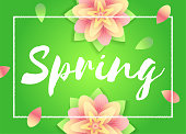 Spring background. Flowers on green backdrop. Vector template for Mothers day flyers, invitation, sale poster or banner.