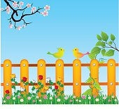Spring background, grass and wooden fence vecto