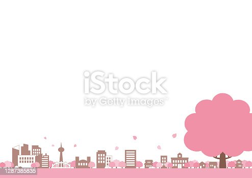 Spring background illustration of cherry blossoms and cityscape