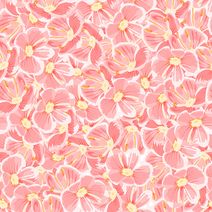 spring background. pink flowers. vector seamless pattern. floral backdrop. textile paint. repetitive background. fabric swatch. wrapping paper. modern stylish texture