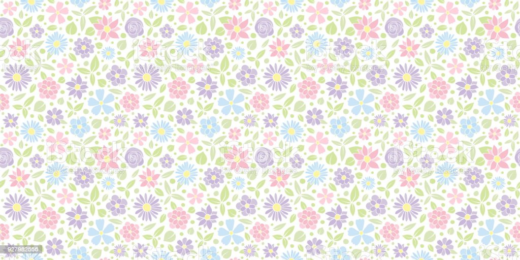 Flores Vectoriales Con Fondo Transparente: Ilustración De Fondo Primavera Patrón Transparente Con