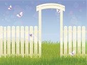 Spring Background. White fence and butterflies. Easter time. Vector. EPS 10. Used object transparency.