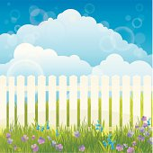 Fresh Spring background with violets and snowdrops. Easter time. Vector. EPS 10. Used object transparency.