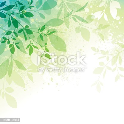 Spring background with transparent leaves and watercolor effect textures EPS10 file contains transparencies.  Additional AI9 file with whole shapes and hi res jpeg included. Scroll down to see similar illustrations below.