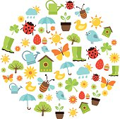 Cute spring background with icons representing spring activities, nature and fresshness.