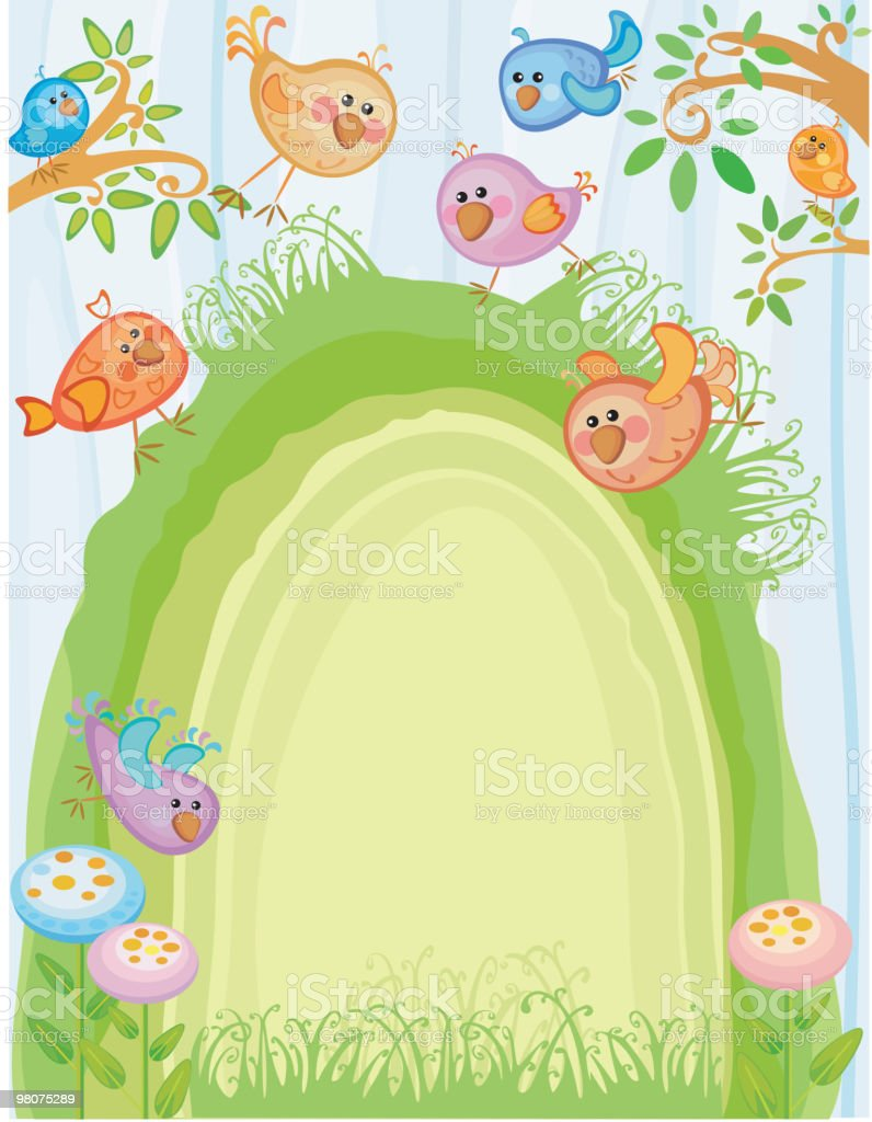 Spring background with cute birds. royalty-free spring background with cute birds stock vector art & more images of backgrounds
