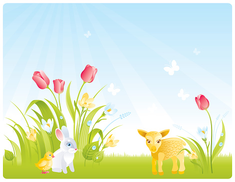Spring background with flowers and aminal cubs
