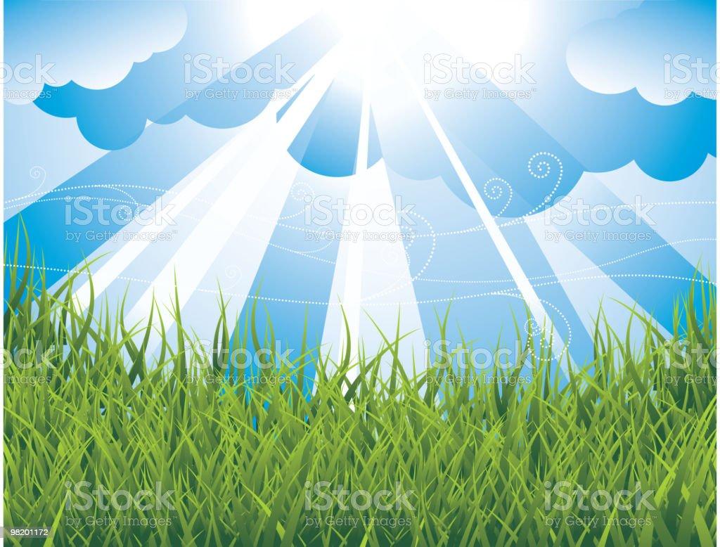 연두빛 배경 버처 필드 및 blue sky. royalty-free 연두빛 배경 버처 필드 및 blue sky 0명에 대한 스톡 벡터 아트 및 기타 이미지