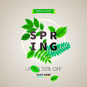 Spring background with green leaves and frame on trendy geometric backdrop. Vector illustration. Fresh template design for posters, flyers or vouchers.