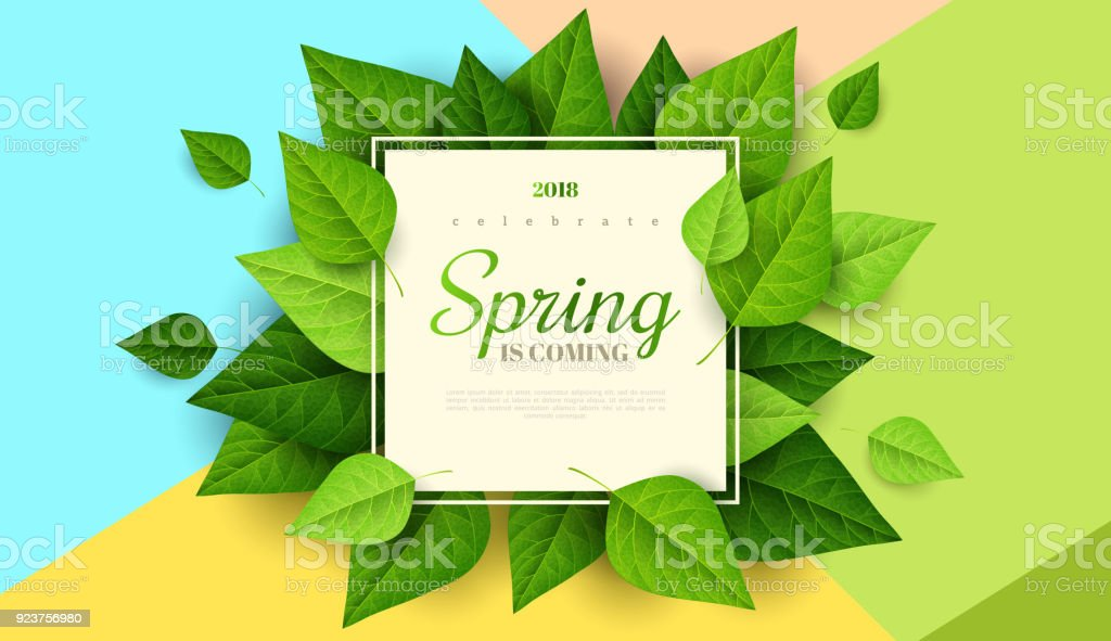 Spring background with green leaves royalty-free spring background with green leaves stock illustration - download image now
