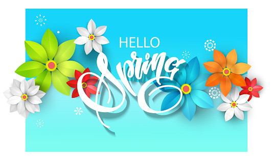 spring background with paper cutout flowers and lettering for your design of flyer, postcard, banners
