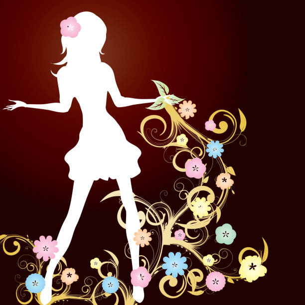 Spring background with slim girl silhouette and flowers swirl on brown background vector art illustration