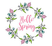 Vector illustration of the  Hello Spring Badge.