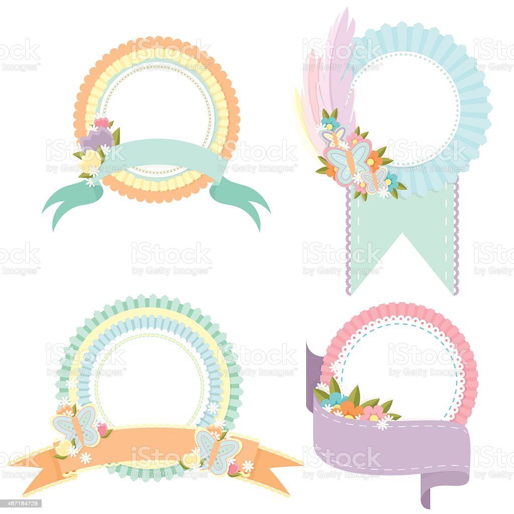 Spring Badges vector art illustration