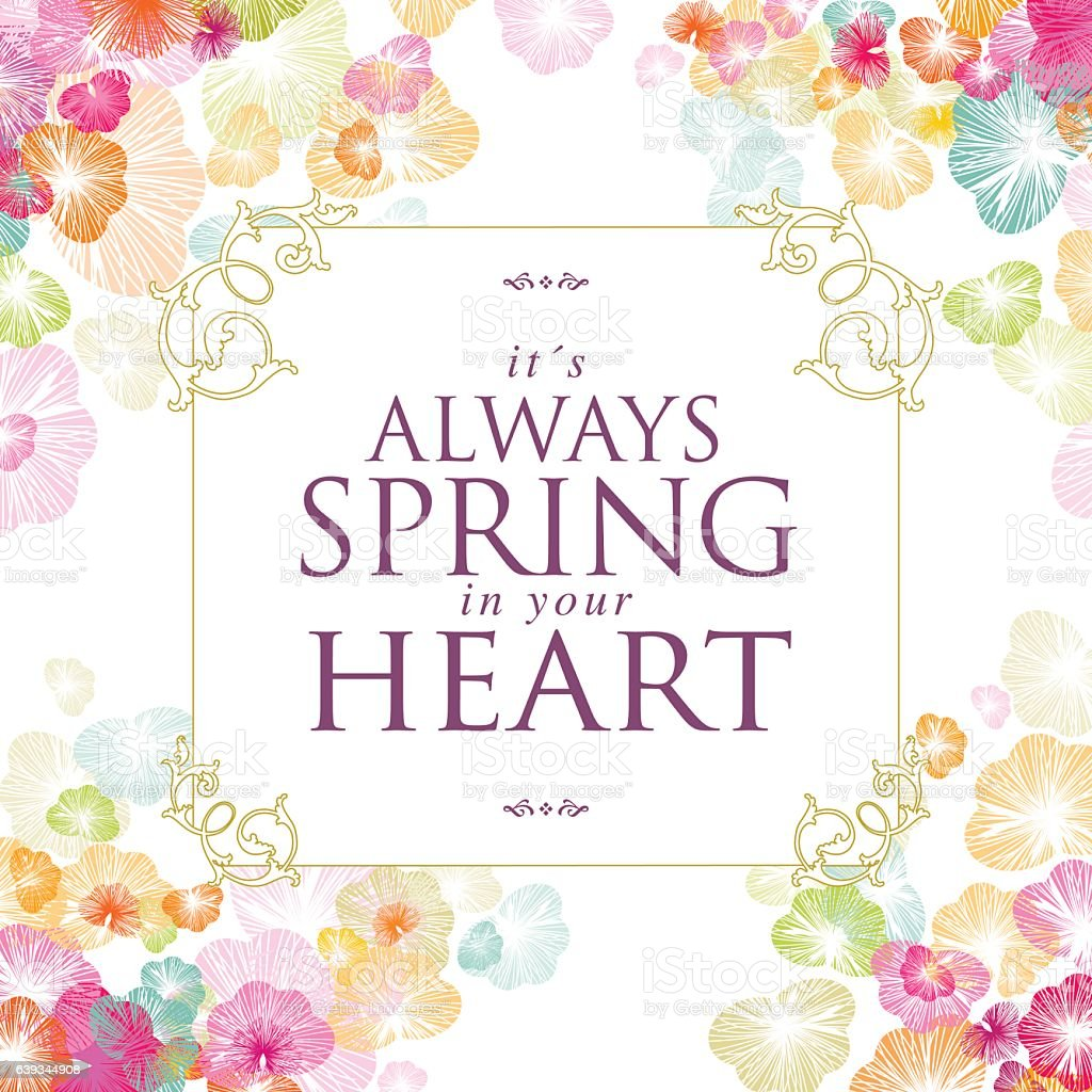 Spring banner flower text floral message heart frame vector art illustration