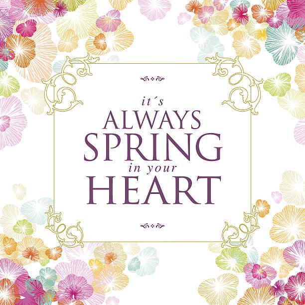 Spring banner flower text floral message heart frame vector art illustration