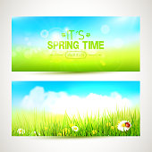 Vector set of two spring banners or headers
