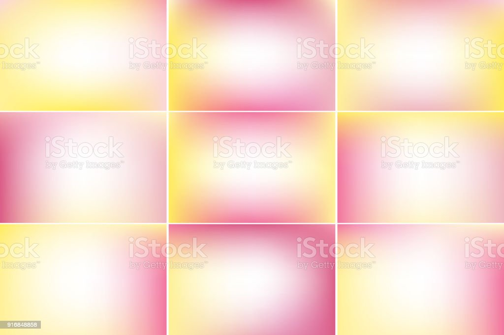 Spring banners. Pink and yellow colors. Gradient vector backgrounds collection vector art illustration