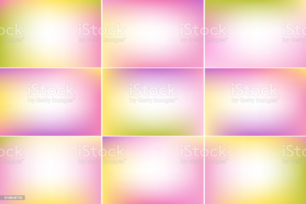 Spring banners. Pink, green and yellow colors. Gradient vector backgrounds collection vector art illustration