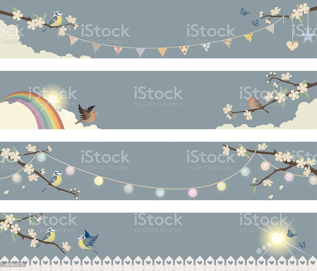 Spring banners with Birds and Cherry Blossoms vector art illustration