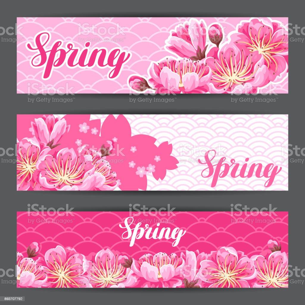 桜や桜の花と春のバナー花が咲いての花日本の飾り - さくらんぼ色の