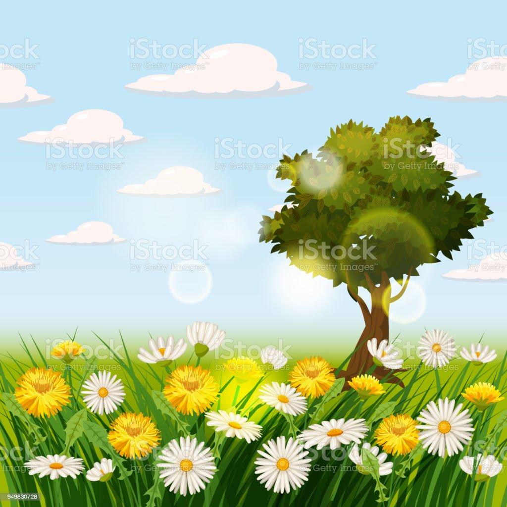 Spring beautiful scenery fields chamomile flowers dandelions clouds spring beautiful scenery fields chamomile flowers dandelions clouds cartoon style izmirmasajfo