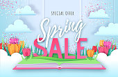 Spring big sale poster with full blossom tulips. Spring flowers paper design