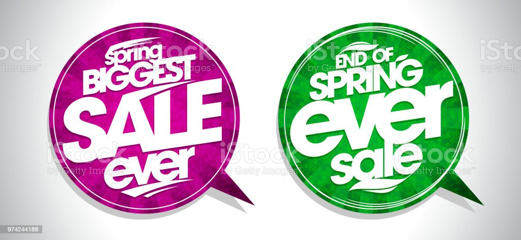 Spring biggest sale ever and end of spring ever sale speech bubbles...