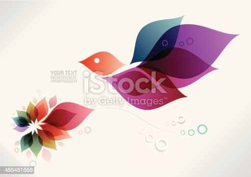 EPS 10 Vector illustration. Colored background with flower and bird. For your contemporary layouts. Typography is self created. Insert your own text / design. Used transparencies, opacityes and simple gradients. Easy to edit. RGB color mode. (include AI-CS3, EPS10, JPEG 2800x1979px)