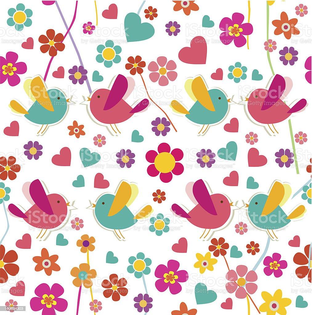 Spring birds pattern royalty-free stock vector art