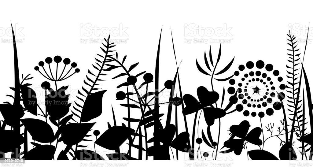 Ilustración de Primavera Hierba Negra Silueta De Patrones Sin ...