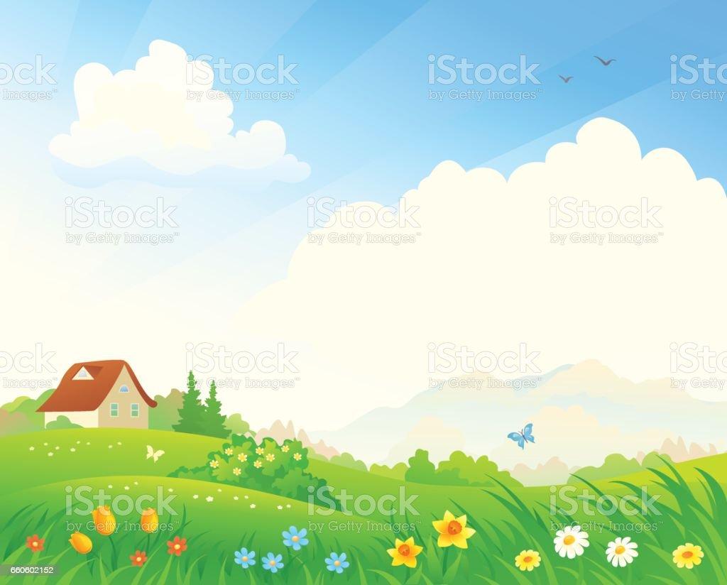 Spring bloom landscape vector art illustration
