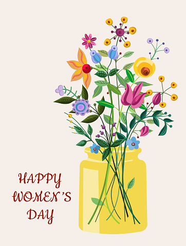 Spring blooming women's day card with fancy flowers.