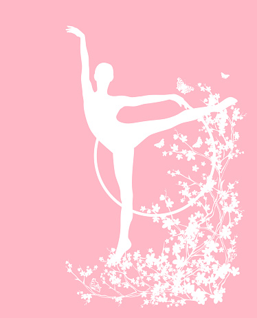 spring blossom branches with flying butterflies and slim gymnast woman vector silhouette