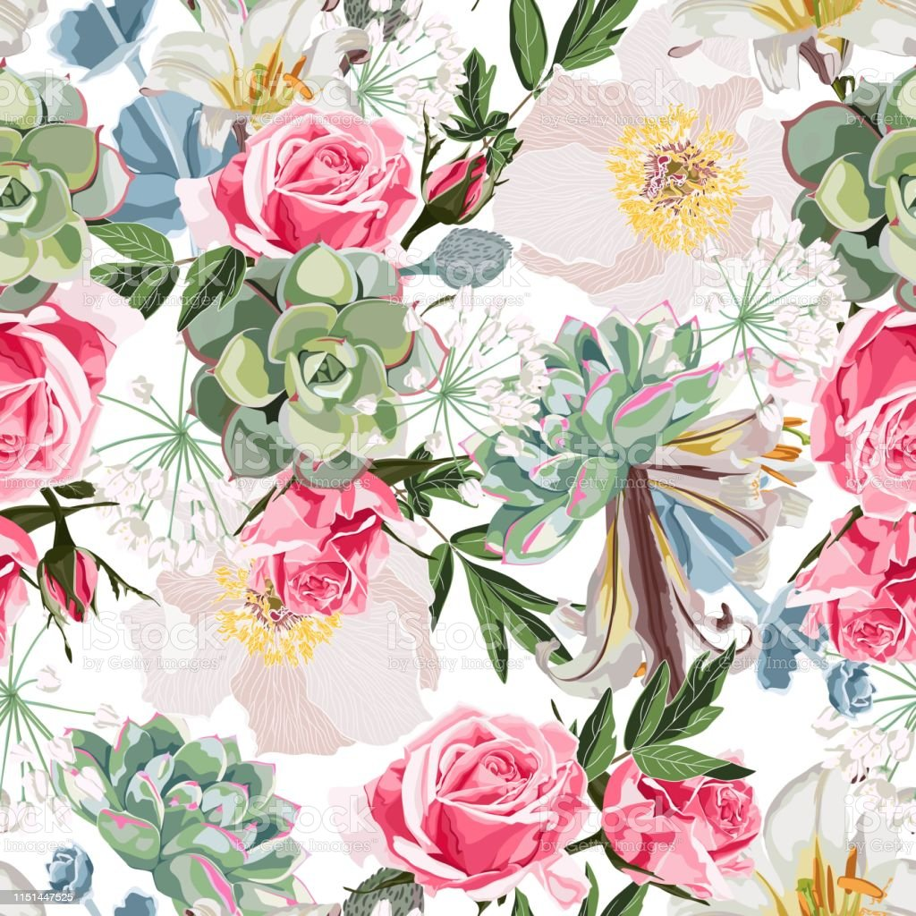 Spring Blossom Floral Seamless Pattern Vintage Background Wallpaper