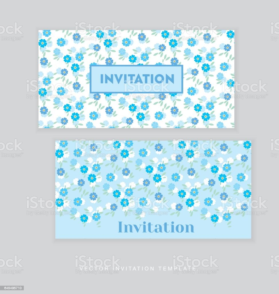 spring blossom invitation card template simple elegant floral vector