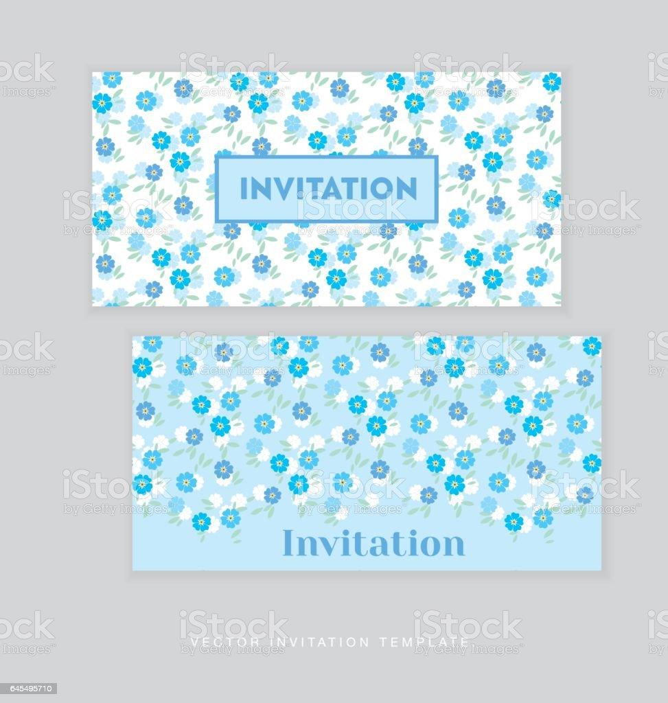 spring blossom invitation card template simple elegant floral vector