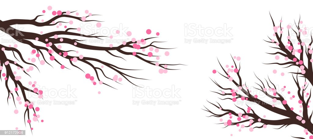 Spring blossom trees. Vector decoration elements. vector art illustration