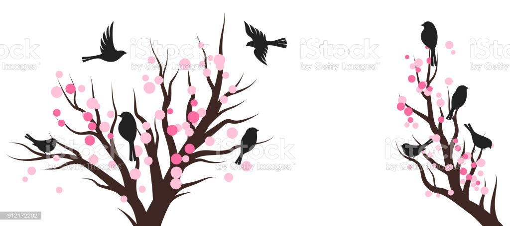 Spring blossom trees with birds. Vector decoration elements. vector art illustration