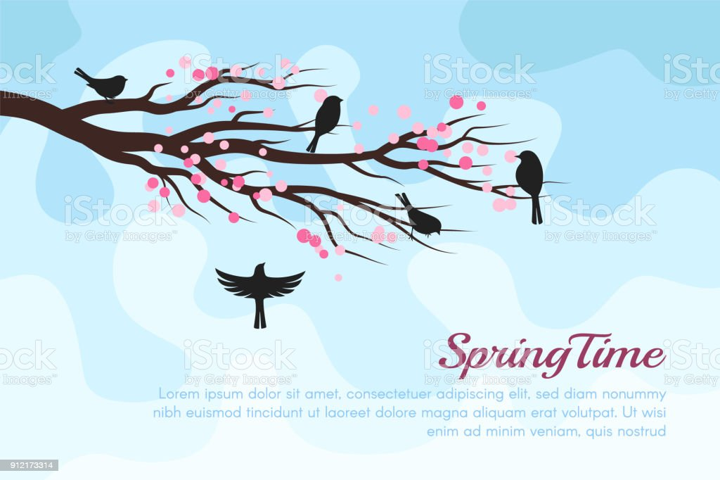 Spring blossom trees with birds. Vector decorative background vector art illustration