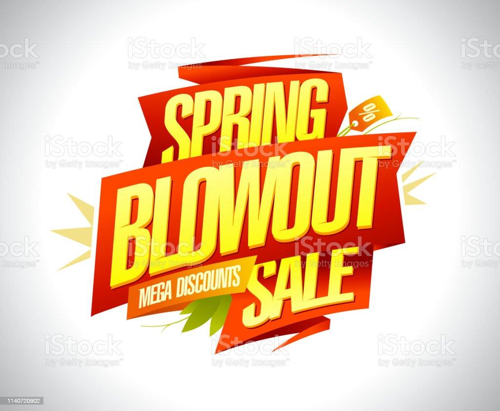 Spring blowout sale, mega discounts banner design royalty-free spring blowout sale mega discounts banner design stock illustration - download image now
