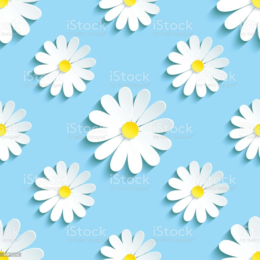 Spring blue background seamless pattern with chamomile vector art illustration