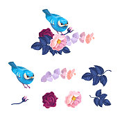 Spring Blue Bird on Flower Branch Watercolor Kit. Floral Summer Abstract Bouquet with Peony Leaf and Nightingale. Romantic Bud Blossom Artwork Element Set Flat Cartoon Vector Illustration